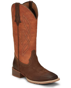 Justin Women's Breakaway Moka Western Boots - Wide Square Toe, Tan, hi-res