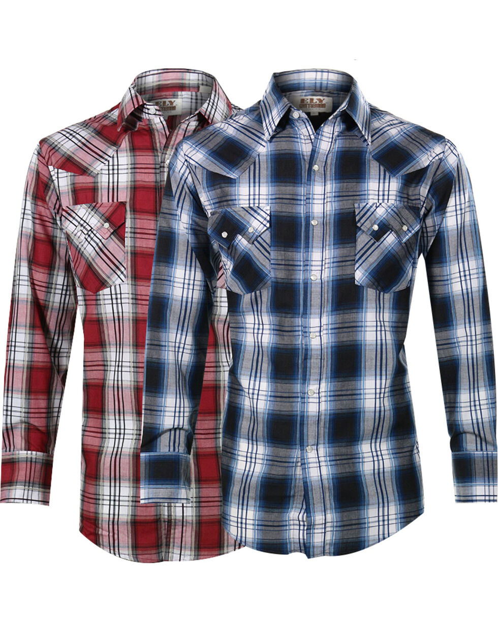 Ely Cattleman Men's Assorted Sawtooth Plaid Long Sleeve Shirt, Multi, hi-res