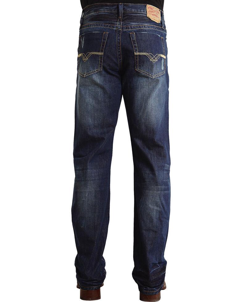 "Stetson Modern Fit ""V"" Stitched Jeans - Big & Tall, Dark Stone, hi-res"