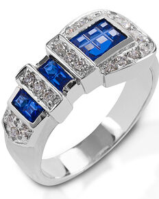 Kelly Herd Women's Blue Ranger Style Buckle Ring, Silver, hi-res