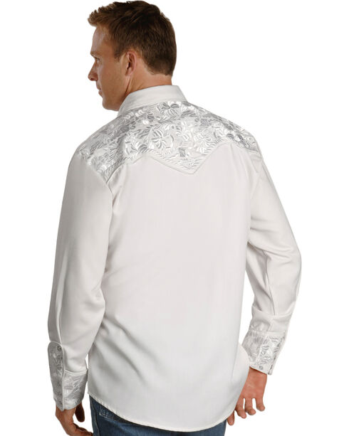 Scully Men's White Embroidered Gunfighter Shirt, White, hi-res
