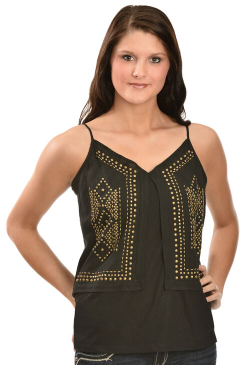 Red Ranch Women's Brass Stud Cami, Black, hi-res