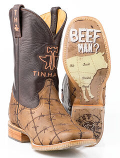 Tin Haul Barbed Wire Butcher Shop Cowboy Boots - Square Toe, Brown, hi-res