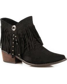 Roper Women's Black Fringe Western Booties - Medium Toe , Black, hi-res