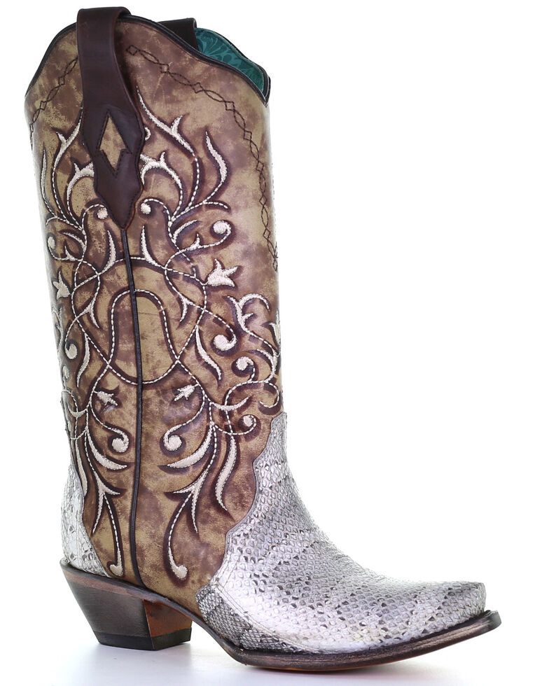 Corral Women's Triad Natural Snake Western Boots - Snip Toe, Natural, hi-res