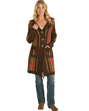 Wrangler Women's Rust Serape Stripe Duster Cardigan , Brown, hi-res