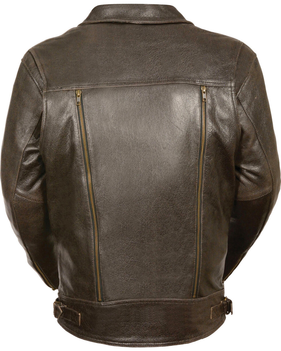 Milwaukee Leather Men's Brown Utility Pocket MC Jacket - Big 4X , Brown, hi-res