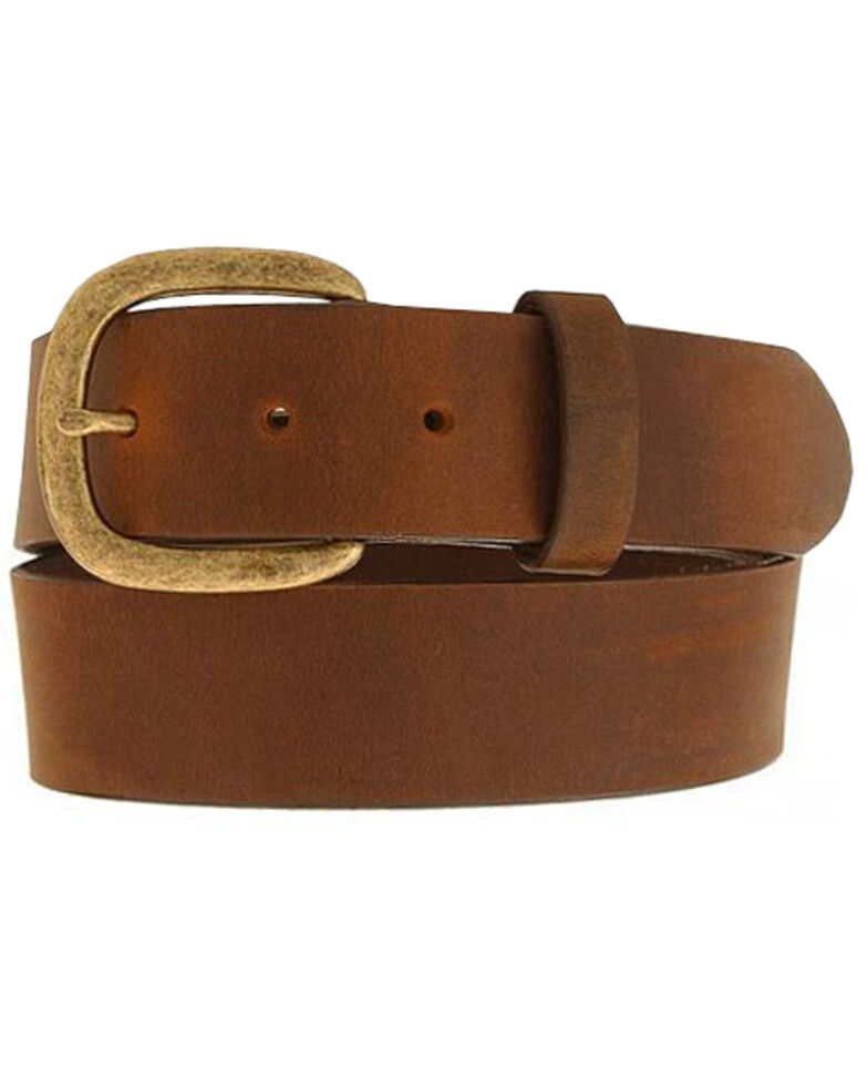 Justin Basic Leather Work Belt - Reg & Big, Bark, hi-res