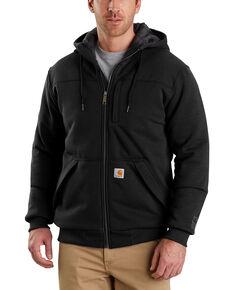 Carhartt Men's Rain Defender Rockland Quilt-Lined Hooded Work Jacket , Black, hi-res