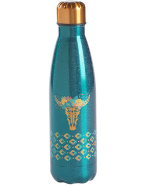 BB Ranch Longhorn Stainless Steel Water Bottle, Turquoise, hi-res