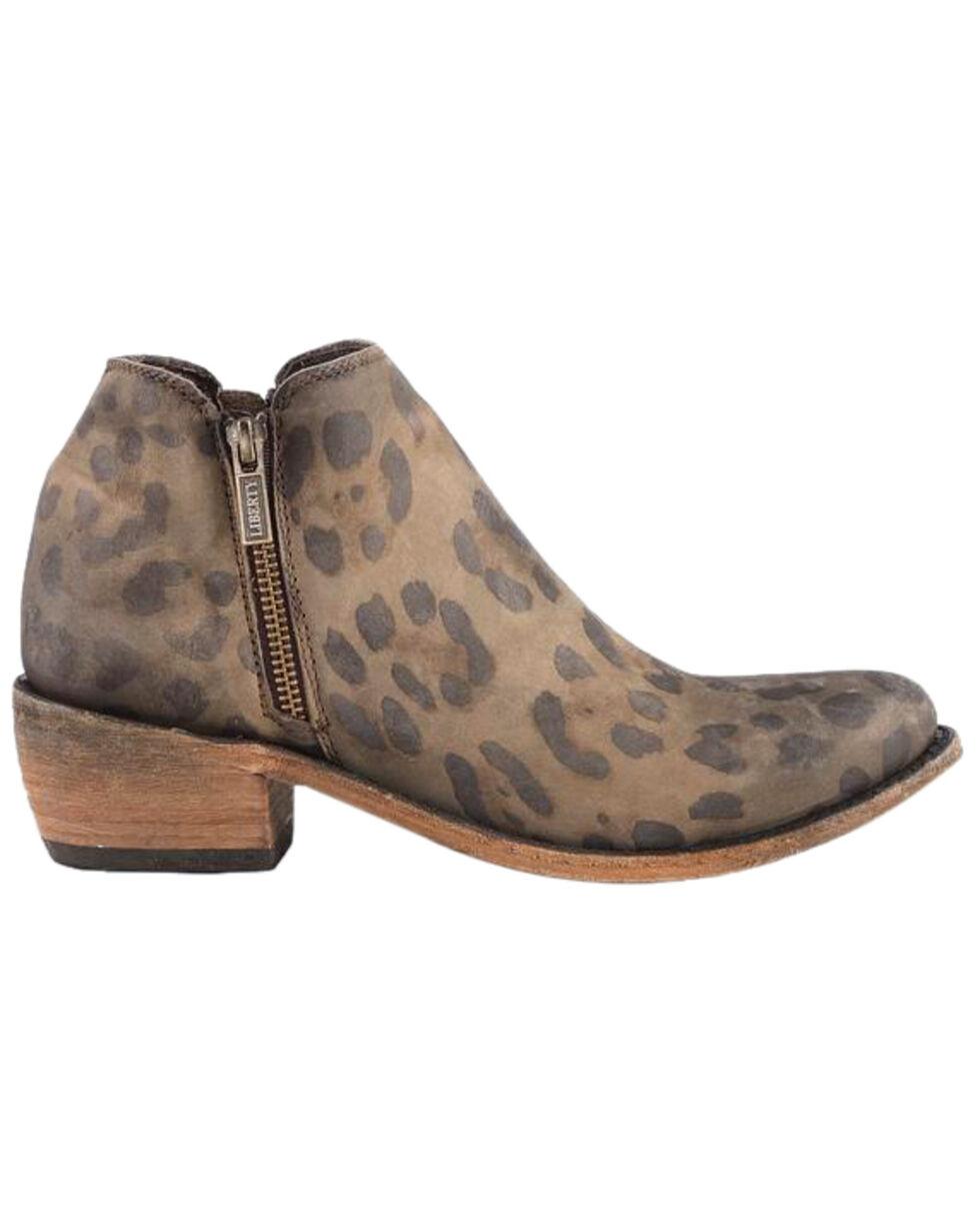 Liberty Black Women's Cheetah Miel Double Zip Booties - Round Toe , Brown, hi-res