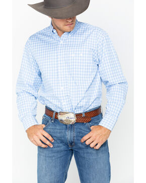 Wrangler George Strait Men's Blue Plaid Long Sleeve Button Down Shirt, Blue, hi-res