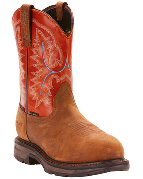 Ariat Men's Tan Waterproof Workhog XT Pull-On Boots - Carbon Toe , Tan, hi-res