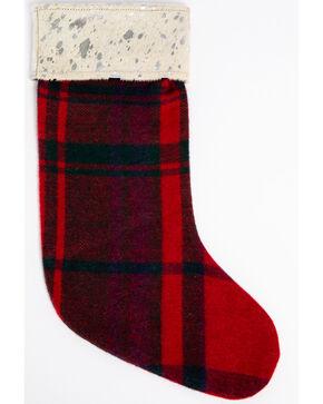 BB Ranch Red Plaid Metallic Cowhide Stocking, Red, hi-res