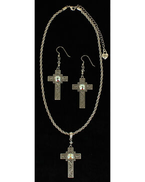 Lightning Ridge Rhinestone-bedecked Cross Charm Necklace Set, Multi, hi-res