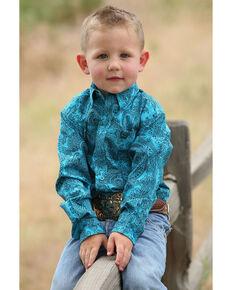 7ad42cca Cinch Toddler Boys Teal Paisley Print Long Sleeve Western Shirt , Teal,  hi-res