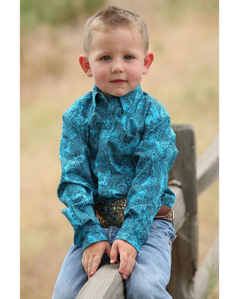 069c61f71 Zoomed Image Cinch Toddler Boys' Teal Paisley Print Long Sleeve Western  Shirt , Teal, hi-
