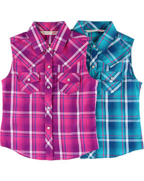 Cumberland Outfitters Girls' Plaid Sleeveless Shirt , Multi, hi-res