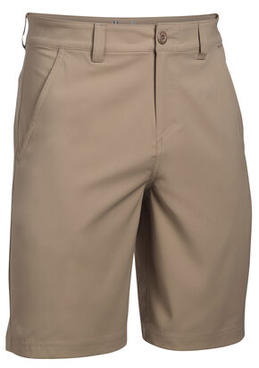 Under Armour Men's Fish Hunter Flat Front Shorts, Sand, hi-res