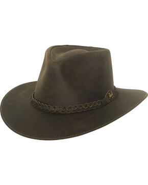 Bullhide Men's Duluth Leather Outback Hat, Dark Brown, hi-res