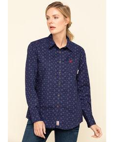 Ariat Women's Poseidon FR Sayers Durastretch Long Sleeve Work Shirt, Blue, hi-res