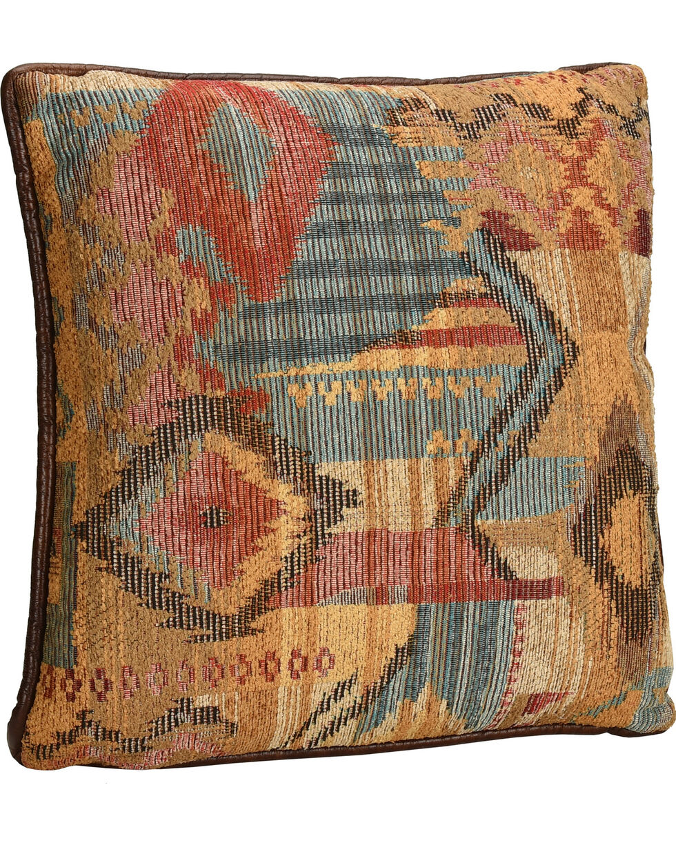 HiEnd Accents Ruidoso Square Pillow with Scalloping, Multi, hi-res