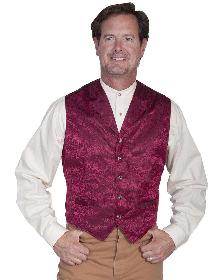 Wahmaker Silk Floral Single Breasted Vest - Big & Tall, Burgundy, hi-res