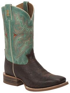 Tony Lama Cognac Jasper 3R Stockman Boots - Round Toe, Chocolate, hi-res