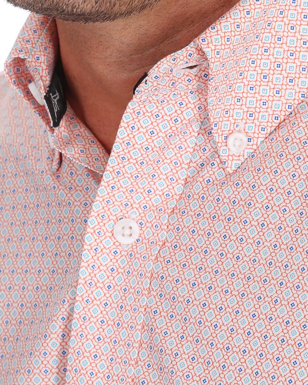 George Strait by Wrangler Men's Light Orange Print Long Sleeve Western Shirt , Orange, hi-res