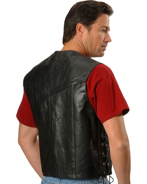 Interstate Leather Motorcycle Leather Vest, Black, hi-res