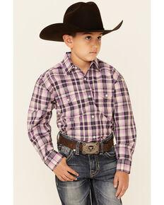 Panhandle Boys' Orchid Plaid Long Sleeve Snap Western Shirt , Purple, hi-res