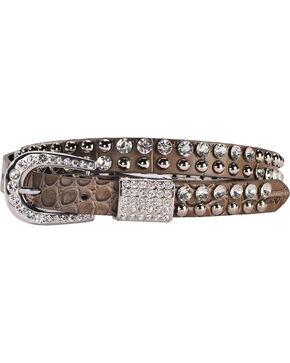 Shyanne Women's Gator Print Skinny Bling Belt, Grey, hi-res