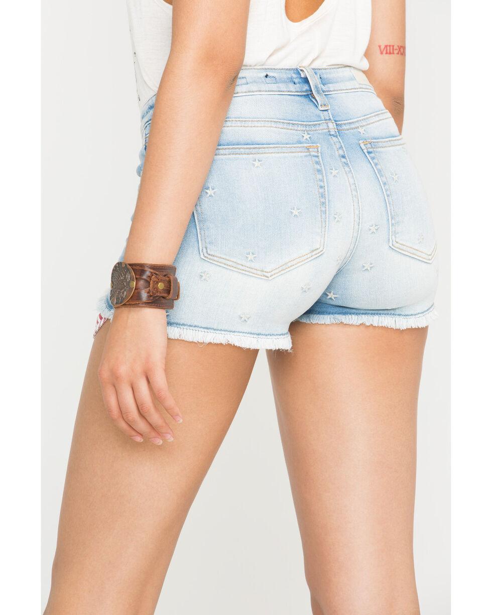 Miss Me Women's Americana Mid-Rise Denim Cutoff Shorts , Blue, hi-res