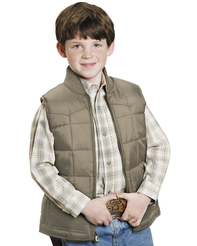 Roper Boys' Rangegear Quilted Nylon Vest, Brown, hi-res