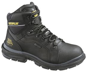 "Caterpillar 6"" Manifold Waterproof Lace-Up Work Boots - Steel Toe, Black, hi-res"