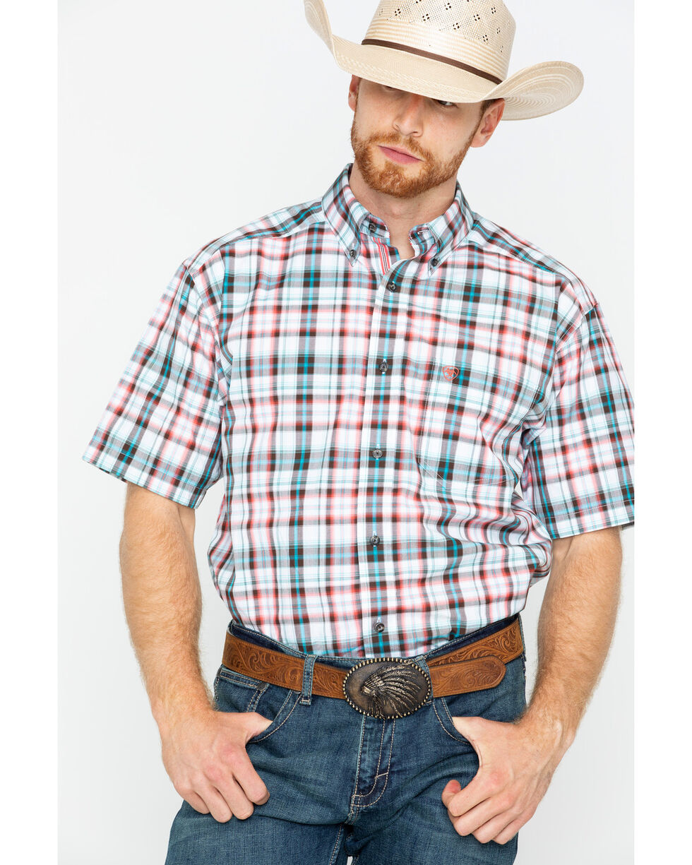 Ariat Men's Red Plaid Neilson Short Sleeve Shirt , Multi, hi-res