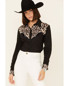 Ranch Dress'n Women's Black Leopard Print Long Sleeve Snap Western Shirt , Black, hi-res