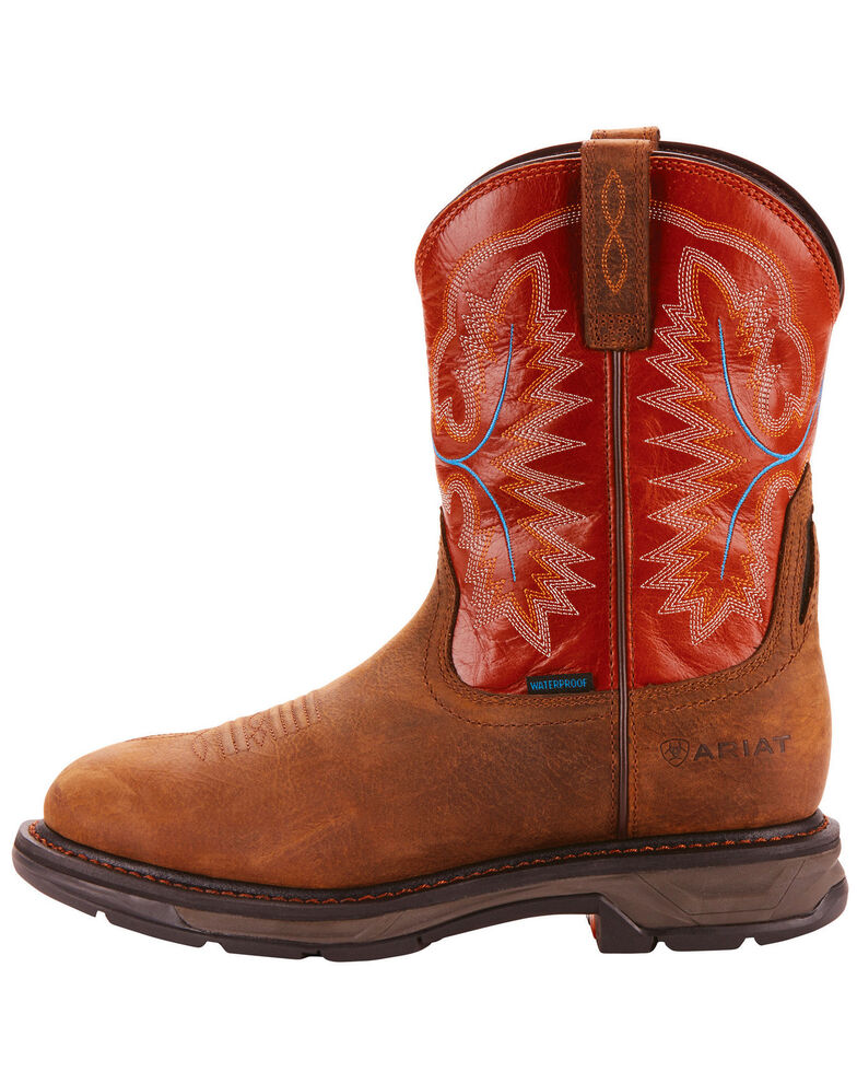 Ariat Men's Tan Workhog XT Pull-On H20 Boots - Round Toe , , hi-res