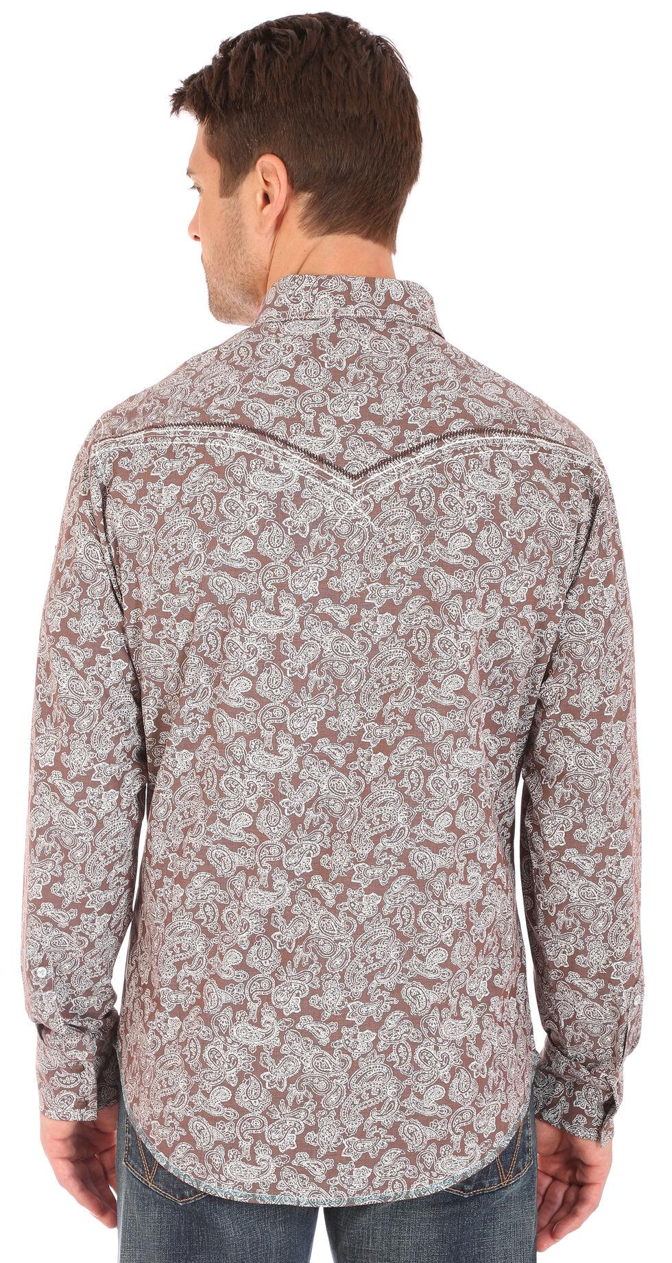 Wrangler Rock 47 Men's Paisley Print Long Sleeve Snap Shirt, Brown, hi-res
