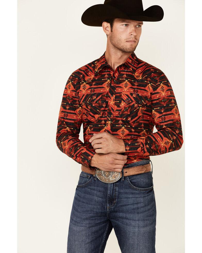 Rock & Roll Denim Men's Red & Black Aztec Print Long Sleeve Snap Western Shirt , Black, hi-res