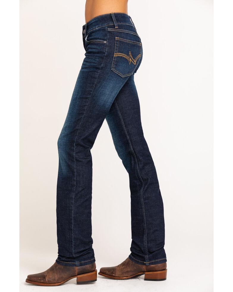 Wrangler Women's Dark Mid Rise Everyday Straight Jeans, Blue, hi-res