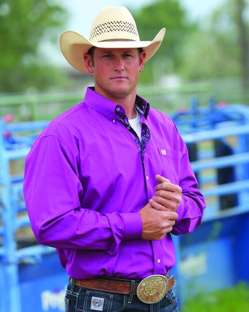 Cinch Men's Purple Solid Plain Weave Western Shirt , Purple, hi-res
