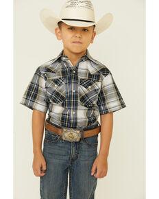 Ely Walker Boys' Black Textured Plaid Short Sleeve Snap Western Shirt , Black, hi-res