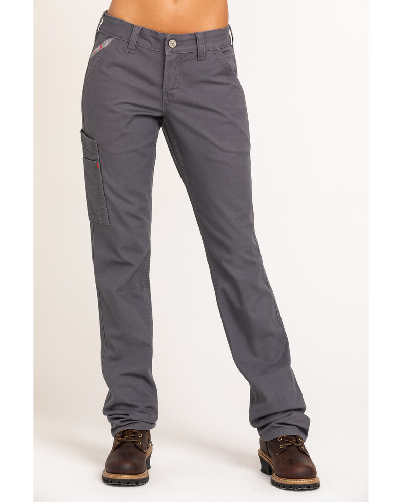Ariat Women's FR Duralight Stretch Canvas Straight Leg Pants, Grey, hi-res