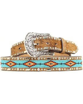 Ariat Beaded Ribbon Inlay Belt, Brown, hi-res