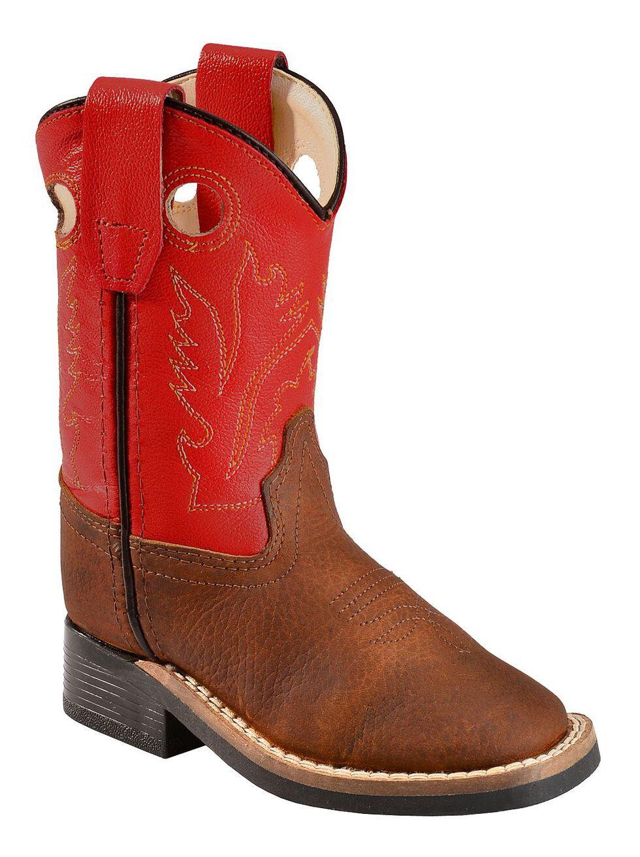 Old West Toddler Boys' Orange Cowboy Boots - Square Toe, Copper, hi-res