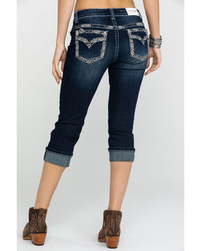 Shyanne Women's Capri Bling Dark Boot Jeans , Blue, hi-res