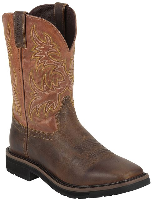 Justin Rugged Tan Stampede Pull-On Work Boots - Square Toe, Tan, hi-res