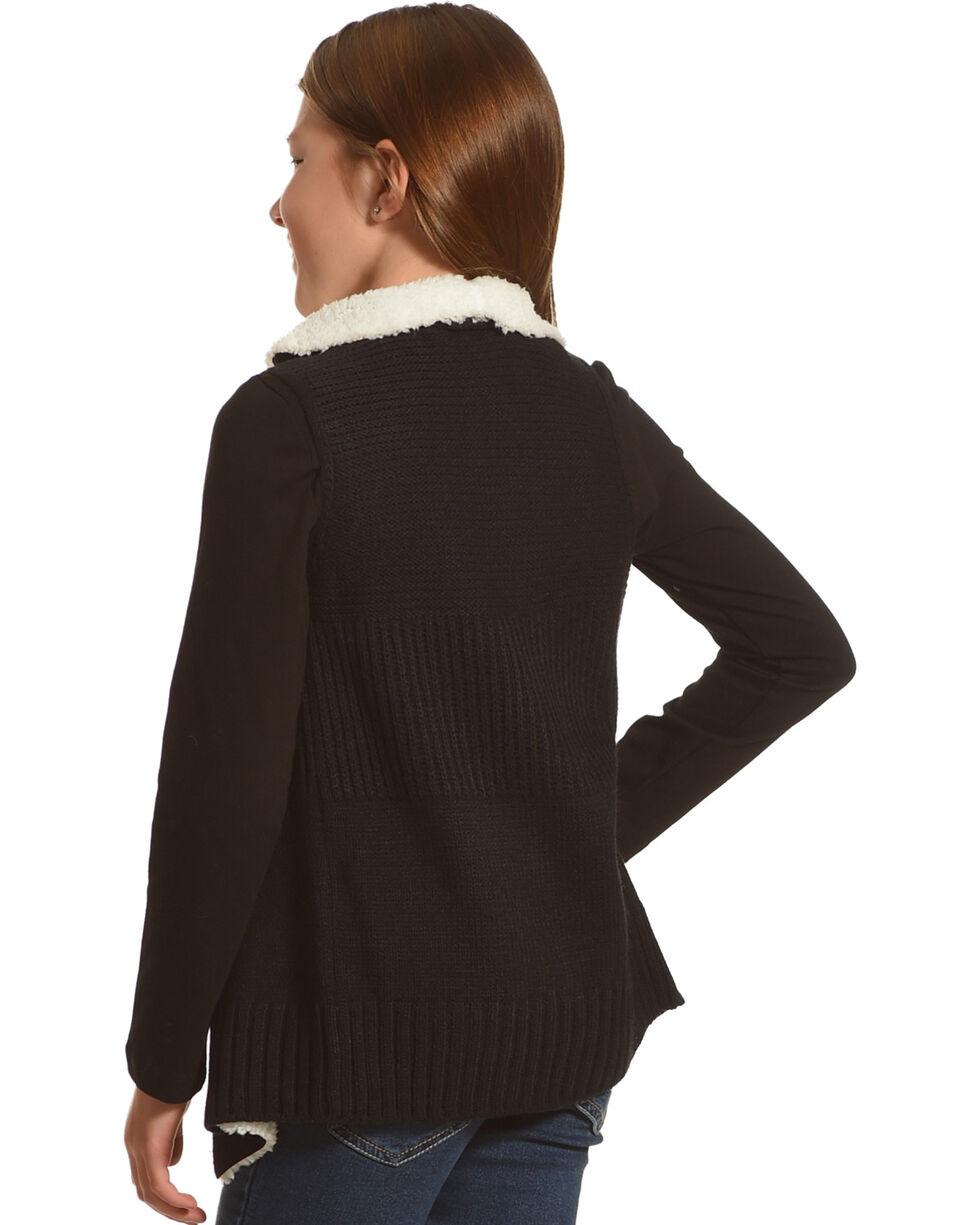 Derek Heart Girls' Black Sherpa Collar Sweater Vest , Black, hi-res