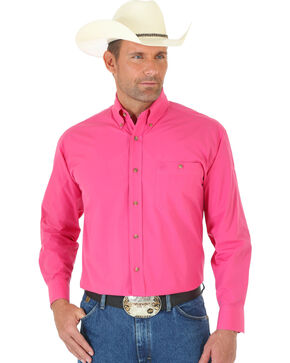 George Strait by Wrangler Men's Pink Long Sleeve Western Shirt, Pink, hi-res